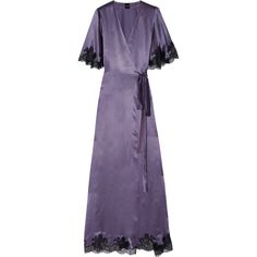Carine Gilson Déshabillé lace-trimmed silk-satin robe ($1,555) via Polyvore featuring intimates, robes, dark gray, grey robe, silk satin robe, dressing gowns, ruffle robe and carine gilson