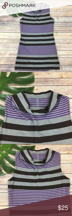 Patagonia purple gray stripe high neck dress Patagonia high neck sleeveless gray stripe dress, size S. It is free from any rips or stains. It measures about 36 inches around the bust, about 31 inches around the waist and is about 32 inches long. Patagonia Dresses