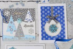 How to Make a Winter Trees Christmas Card #christmas #card #making #snow #tree #papercraft