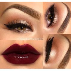 subtle eye with bold deep red lip