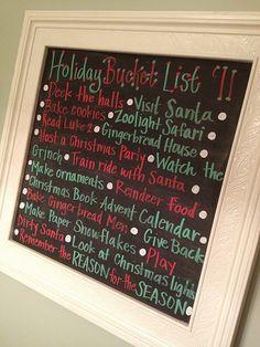 Cute holiday bucket list