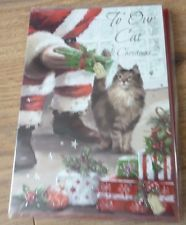 XMAS CARD*TO OUR CAT AT CHRISTMAS*CAT AND SANTA CLAUS DESIGN*