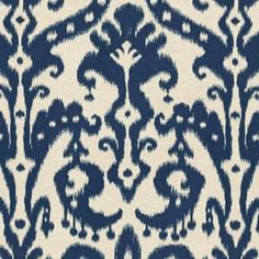 Ikat is very trend-right now, and so are dark blues - like navy or cobalt. This fabric from Ballard Designs perfectly captures both of those trends