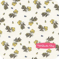Grace in a Pickle Yellow Talkative Tabby Yardage SKU# 0327-333 - Fat Quarter Shop