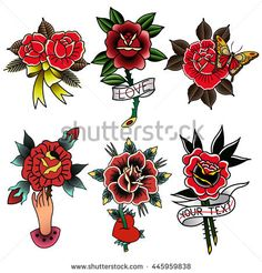Traditional Tattoo Flowers Set Old School Tattooing Style Ink Roses Ribbons Butterfly Heart Text