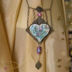 Teal and Turquoise Heart Shape Porcelain Necklace Vintage Style