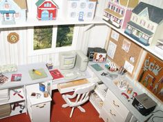 Another view of the miniature dollhouse craft room.
