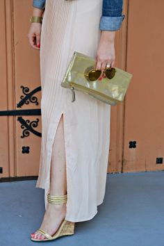 Watercolor Pastels: #fabfound Blush Maxi Skirt & Floral Top via @Marshalls, Denim Jacket via @Gap, Heels from @Deb Shops, gold clutch via @Old Navy