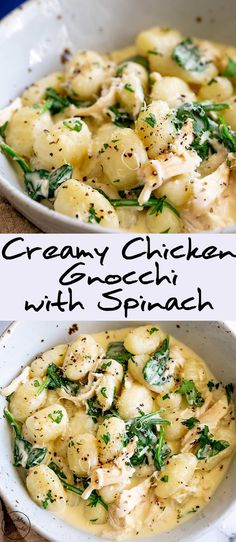 For an easy and quick dinner for the whole family, this Creamy Chicken Gnocchi with Spinach is perfect. Pillowy gnocchi, with shredded chicken (use a rotisserie chicken for super a simple dinner) fres Chicken And Gnocci, Creamy Chicken, Chicken Gravy, Keto Chicken, Chicken Pasta, Roasted Chicken, Fried Chicken, Pasta Recipes, Cooking Recipes