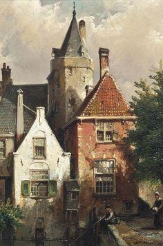 Classic Paintings, Old Paintings, Carl Spitzweg, Amsterdam Art, Medieval Life, Dutch Painters, City Landscape, Dutch Artists, Historical Architecture