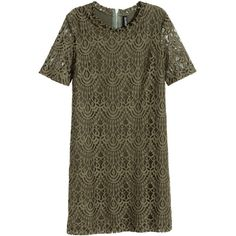 H&M Lace dress (£20) ❤ liked on Polyvore featuring dresses, khaki green, short green dress, short-sleeve lace dresses, short-sleeve maxi dresses, h&m dresses and green short sleeve dress
