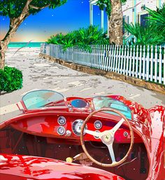 I want this car but in a different color. Red Convertible Ferrari ~ by Eizin Suzuki Comics Illustration, Japanese Illustration, Love Illustration, Illustrations, Cute Girl Drawing, Mobile Art, Automotive Art, Naive Art, Car Painting