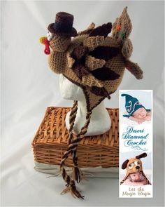 crochet turkey hat | Crochet Pattern 073 - Holidurkey Turkey Hat - All Sizes ...