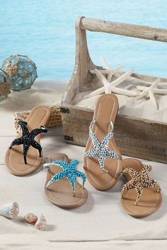 Sealife Sandals - Beaded Thong Sandal, Best Sandal For Summer, Starfish Sandal | Soft Surroundings