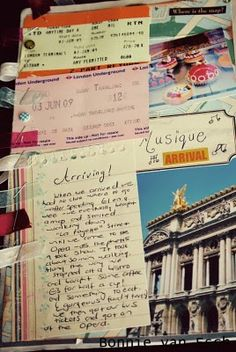 Travel journal ideas....Love the small note paper with thoughts jotted down and added to the larger journal later. Easier to travel with small note pads!