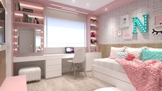 Bedroom Decor For Small Rooms, Study Room Decor, Bedroom Decor For Teen Girls, Girl Bedroom Designs, Stylish Bedroom, Room Ideas Bedroom, Teenage Room Decor, Dressing Room Design, Aesthetic Bedroom
