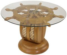 MARITIME DECORATIVE WOODEN PULLEY BASE SHIP WHEEL TABLE