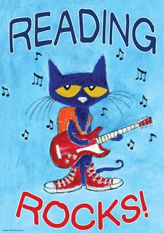 "Pete the Cat Reading Rocks Poster - Inspire and motivate kids of all ages. Brightens any classroom! Poster measures 13 3/8"" x 19""."