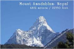 Mount Ama Dablam 6812 mtrs. / 22349 ft., (some of saying 6852 meters) is the third most popular Himalayan peak for permitted expeditions. The most popular route by far is the Southwest Ridge. Climbers typically set up three camps along the ridge with camp 3 just below and to the right of the hanging glacier, the Dablam. Any ice that calves off the glacier typically goes left, away from the camp. However, a 2006 avalanche proved otherwise…    www.nepaltravelandtour.com…