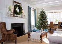 love the blue and white with the christmas decor.looks like my living room! Merry Christmas, Christmas Mantels, Blue Christmas, Christmas Home, Christmas Vacation, Christmas Decorations, Natural Christmas, Rustic Christmas, White Christmas Trees