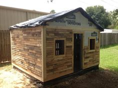 Use pallet wood for siding on an outdoor shed