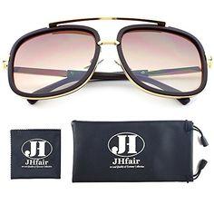 e237cedabf Amazon.com  JHfair Square Aviator Fashion Mens Womens Sunglasses Brand  Designer  Clothing