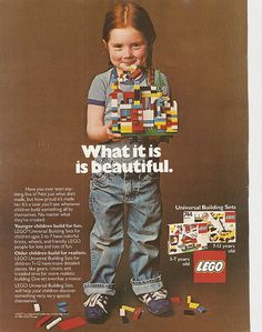 vintage lego poster, I love that this is a realistic child's creation.I wish more advertising was this real. Vintage Lego, Vintage Ads, Vintage Paper, Legos, Lego Poster, Foto Picture, Lines For Girls, Gill Sans, Lego Girls