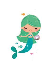 A little mermaid in pretty tones of blue and green floating happily beneath the ocean! This contemporary art print would make a lovely addition to any nursery or childs playroom, a lovely gift for a new baby. This is a Fine Art giclée archival print and is signed by hand on the