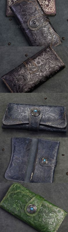Handmade Long Leather Wallet Bifold Button Carved Floral Leather