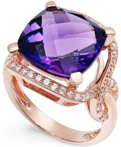 Amethyst (6-1/6 ct. t.w.) and Diamond (3/8 ct. t.w.) Ring in 14k Rose Gold