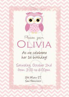 Owl girl birthday invitation. Also great for Baby Showers. Custom. Digital File