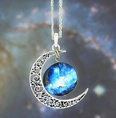 Galaxy moon necklace Brand new never warn beautiful necklace. Jewelry Necklaces Galaxy moon necklace Brand new never warn beautiful necklace. Blue Necklace, Moon Necklace, Pendant Necklace, Cute Jewelry, Jewelry Accessories, Jewelry Sets, Fashion Necklace, Fashion Jewelry, Jewelery