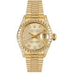 Rolex Vintage 18K Yellow Gold Datejust Watch ($9,680) ❤ liked on Polyvore featuring jewelry, watches, one colour, bezel watches, vintage jewelry, gold jewellery, vintage wrist watch and vintage wristwatches