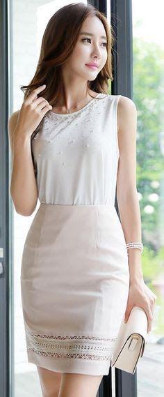 Korean Women`s Fashion Shopping Mall, Styleonme. Fashion Moda, Skirt Fashion, Fashion Dresses, Womens Fashion, Cute Dresses, Beautiful Dresses, Cute Outfits, Asian Woman, Asian Girl