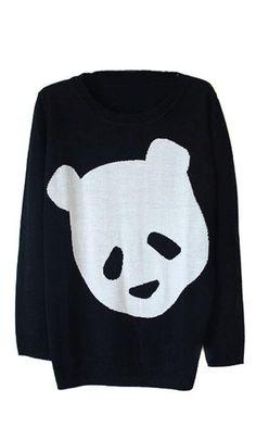 Amazon.com: New Womens European Fashion Sweet Cute Panda Knit Sweaters Black L: Clothing