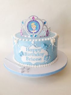 Cinderella cake. Idea- basic cake and then just add a Cinderella tiara.