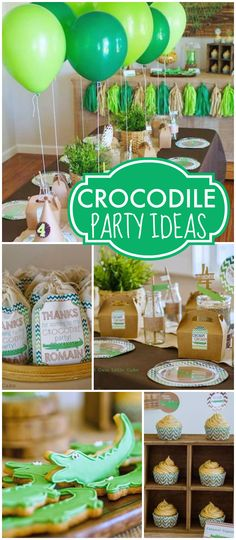 What a cool crocodile birthday party in green and brown! See more party ideas at CatchMyParty.com!