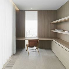 John pawson built in desk and shelving. Lightly smoked and limed timber veneer. A fold white curtain. Home office Home Office Space, Office Workspace, Home Office Design, House Design, Office Designs, Study Office, Office Style, Built In Desk, Office Interiors