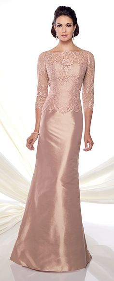 Lace and silk Dupioni fit and flare gown with illusion lace three-quarter sleeves, scalloped lace bateau neckline, sweetheart bodice, slight dropped waist, sweep train.