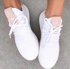 pretty nice 576c4 4e0ee Clothing adidas Originals Pharrell Williams Tennis Hu in raw pink and  white. ClothingSource  adidas Originals Pharrell Williams Tennis Hu in raw  pink and ...