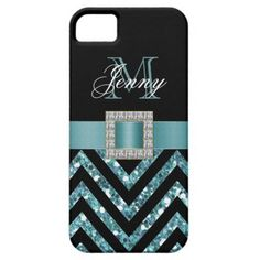 "TURQUOISE BLACK CHEVRON GLITTER GIRLY iPhone 5 CASES This sophisticated, girly, monogrammed black and turquoise glitter chevron pattern, with a silk ribbon and diamonds is a photo PRINTED ON A FLAT SURFACE. Design by Elke Clarke©2012. The design is made up of a zig zag chevron lines with glitter effect, a print of a turquoise blue satin ribbon with a diamond jewel. You can add your monogram initial and name in gorgeous script fonts. You may have to select ""customize it"" to adjust the spacing…"