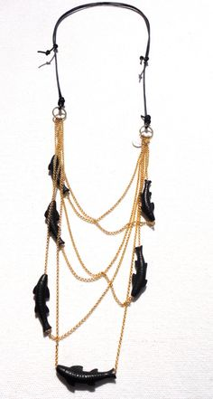 Caught in the Net brass necklace from the Gone by DIDADesign, $95.00