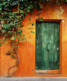 Front Door Paint Colors - Want a quick makeover? Paint your front door a different color. Here a pretty front door color ideas to improve your home's curb appeal and add more style! Old Doors, Windows And Doors, Green And Orange, Orange Color, Burnt Orange, Orange House, Orange Aesthetic, Unique Doors, Doorway