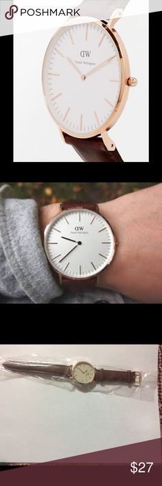 Dw watch Brand new inspired DW watch. Top quality , top rated . GOLD ROSE face , brown strap , 40 mm , water resistant . Unisex . Get it before it goes . Fast shipping , great price Daniel Wellington Accessories Watches