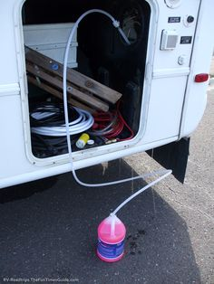 Pumping RV antifreeze through the RV water system. photo by Curtis at TheFunTimesGuide.com