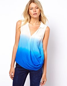 ASOS Silk Top With Dip Dye And Wrap Front