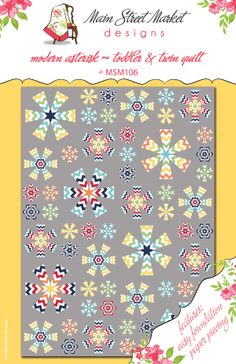Modern Asterisk Toddler & Twin Quilt Pattern by Main Street Market Designs. Features Chevron fabric by Riley Blake Designs.