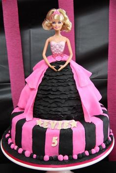 """Photo 15 of Barbie Glam, Cooking, Craft / Birthday """"Evie's Cooking and Craft… Barbie Torte, Bolo Barbie, Barbie Cake, Barbie Doll, Pretty Cakes, Cute Cakes, Beautiful Cakes, Amazing Cakes, Barbie Birthday Party"""