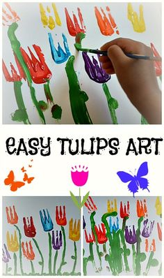 Easy tulip art. Good for toddlers and preschoolers #spring #springactivities