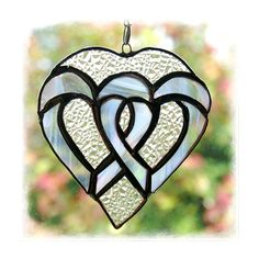 Hearts Stained Glass Suncatcher Silver Handmade £12.00